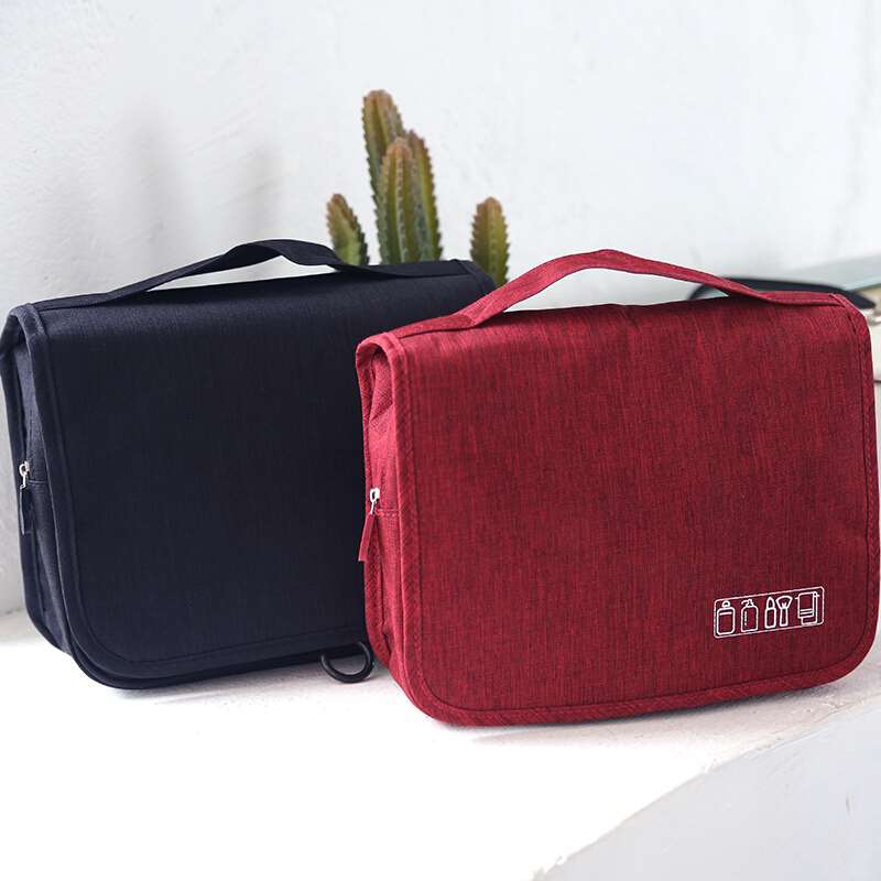 toiletry bag black and red