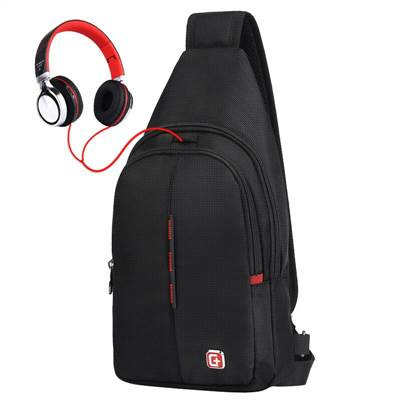 mens crossbody backpack with earphone hole