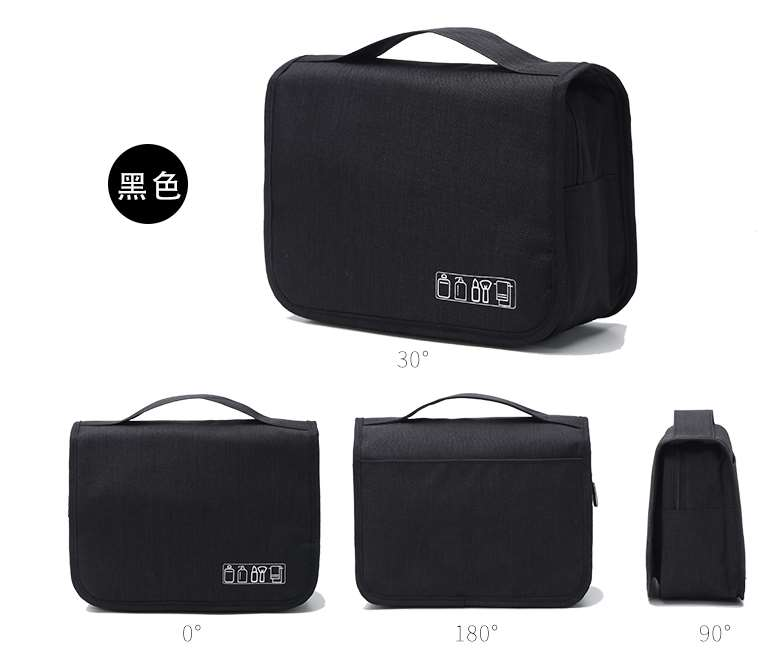 Black men's hanging toiletry bag
