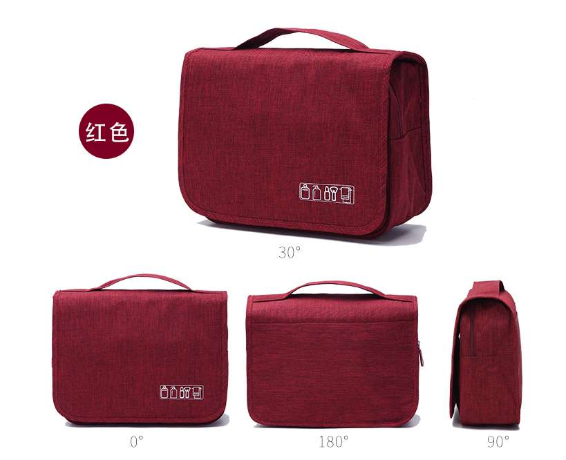 Red hanging toiletry bag