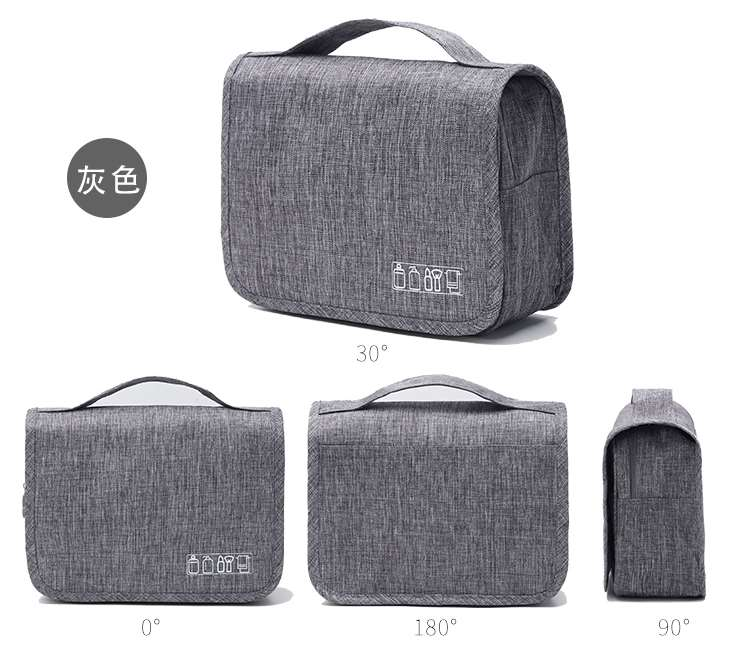 Gray hanging toiletry bag